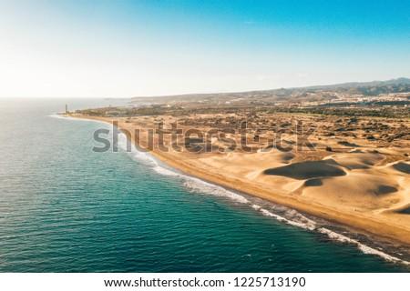Aerial Maspalomas dunes view on Gran Canaria island near famous RIU hotel. #1225713190