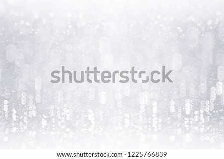 Fancy silver white glitter sparkle confetti background for happy birthday party invite, Christmas ice frost snowfall, kid frosty winter icy snow fall, glitzy diamond crystal or 25 wedding anniversary #1225766839