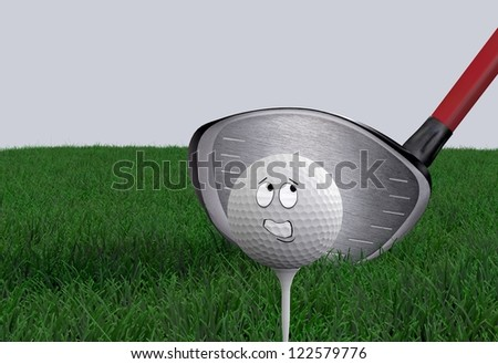 Cartoon golf ball being hit with driver