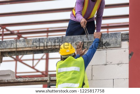 Construction workers working security in Asia. #1225817758