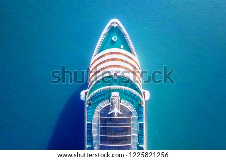 Cruise ship sailing across The Mediterranean sea - Aerial image #1225821256