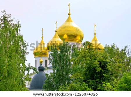 Vibrant view of golden cupola of famous orthodox church among green trees #1225874926