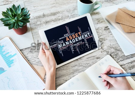 Asset management words cloud on screen. FInancial and Business concept. #1225877686