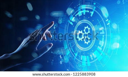 Automation, Business and industrial process workflow optimisation, software development concept on virtual screen. #1225883908