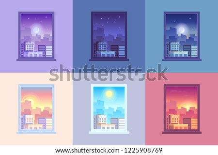 Window day time view. Sunrise sun dawn morning noon sunset dusk afternoon day and night stars at city house windows apartment colorful purple orange blue pink cartoon  concept illustration #1225908769