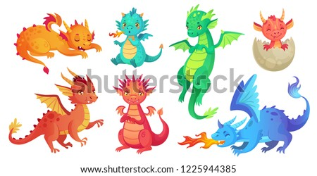 Dragon kids. Fantasy baby dragons, funny fairytale reptile and medieval legends fire breathing serpent. Fairy tale magic dinosaur child, cute monster babies. Cartoon isolated vector icons set