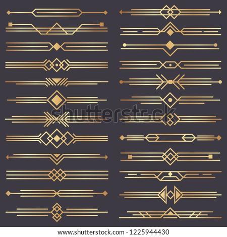 Art deco divider. Gold retro arts border, 1920s decorative ornaments and golden dividers borders, minimal elegant golden ornament frame for wedding invitation card. Vector design isolated icons set #1225944430