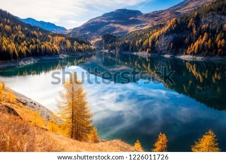 Mountain lake, Lai da Marmorera,  Switzerland #1226011726