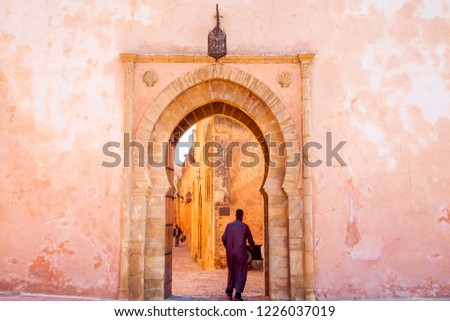 The Kasbah of the Udayas entrance gate in Rabat in Morocco. The Kasbah of the Udayas is located at the Bou Regreg river in Rabat, Morocco. Rabat is the capital of Morocco.  #1226037019