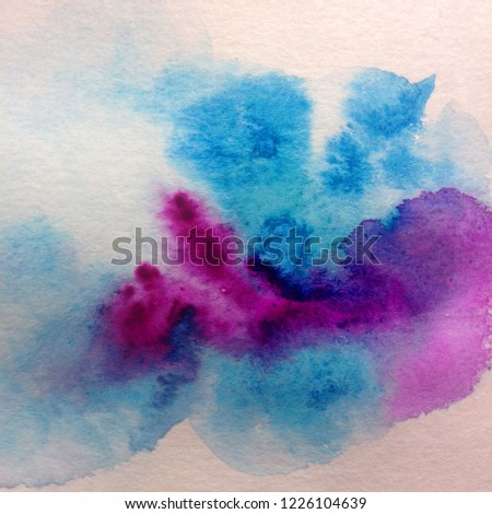Watercolor abstract bright colorful textural background handmade . Painting of sky and clouds  . Modern cosmic pattern .  #1226104639
