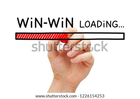 Hand drawing Win Win situation loading bar concept with marker on transparent glass board isolated on white. #1226154253