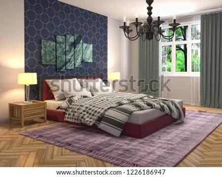 Bedroom interior. 3d illustration #1226186947