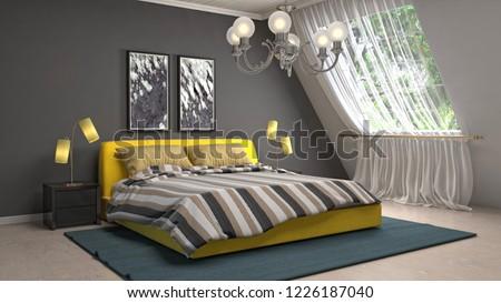 Bedroom interior. 3d illustration #1226187040
