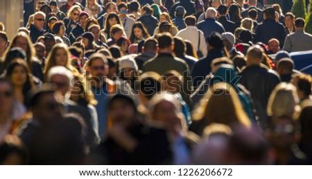 NEW YORK - CIRCA NOVEMBER 2018: Crowd of people walking street #1226206672