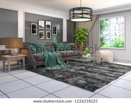 Interior of the living room. 3D illustration #1226218225