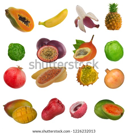 set of tropical fruits isolated on white #1226232013