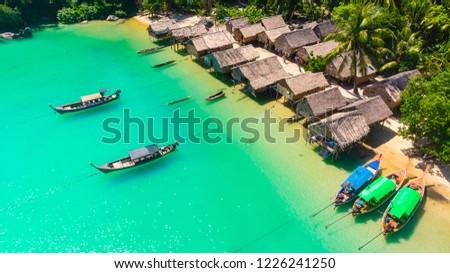Aerial view, Mogan Village on Mu Ko Surin Island Nation park, Thailand #1226241250