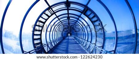 Interior blue glass tunnel, city public construction #122624230