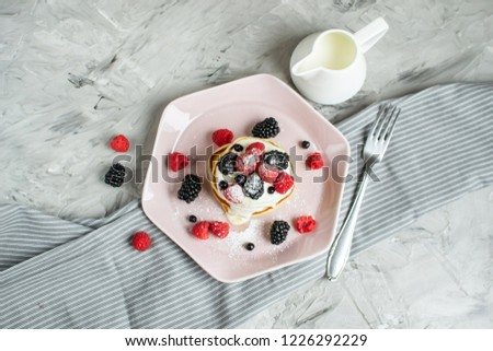 Homemade Pancakes Pastel Pink Plate Sour Cream Berries Coffee Healthy Breakfast Morning Concept #1226292229