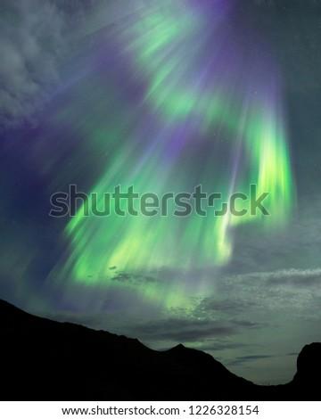 Aurora Borealis, Northern Lights on the beach in Unstad, Lofoten islands in Norway #1226328154