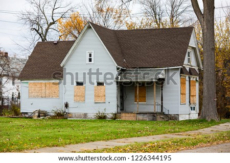 Abandoned Home in Detroit, Michigan. This is a deserted building in a bad part of town. #1226344195