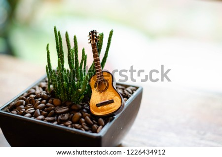 a small green cactus in black rectangular flowerpot have many coffee bean is roasted in flowerpot and put a small guitar  for decorate on top  put on a wooden table  #1226434912