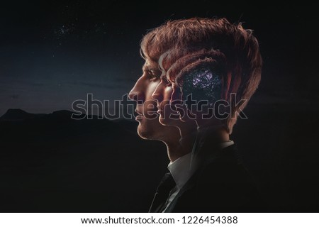 Profile of a young man with mental activity brain and consciousness, with the cosmos as a brain. The scientific concept. The brain and creativity #1226454388