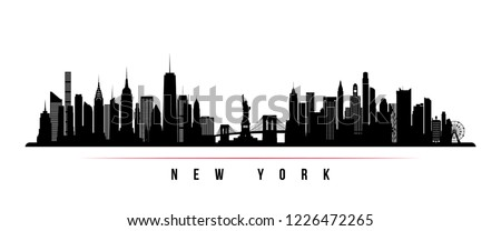 New York city skyline horizontal banner. Black and white silhouette of New York city, USA. Vector template for your design. Royalty-Free Stock Photo #1226472265
