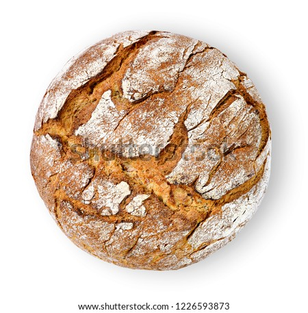 Fresh rye bread or whole grain bread. Isolated object on white background. Healthy baked bread, whole bread on white background. #1226593873