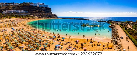 Aerial panorama view of the Amadores beach on the island of Gran Canaria, Spain. Royalty-Free Stock Photo #1226632072