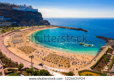 Aerial view of the Amadores beach on the Gran Canaria island in Spain. The most beautiful beach on the island. Royalty-Free Stock Photo #1226635924
