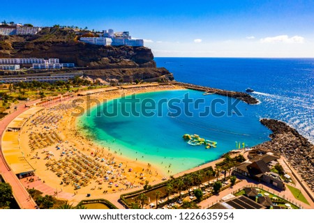 Aerial view of the Amadores beach on the Gran Canaria island in Spain. The most beautiful beach on the island. #1226635954