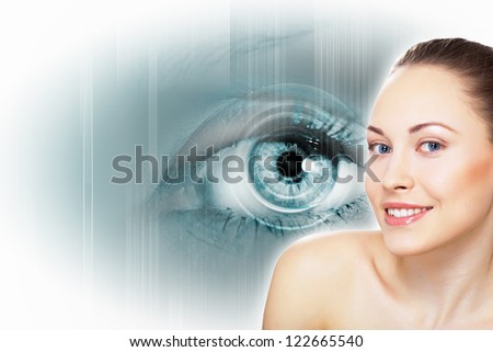 the Human eye on white background and female #122665540