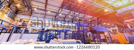 Fiberglass production industry equipment at manufacture background #1226680120