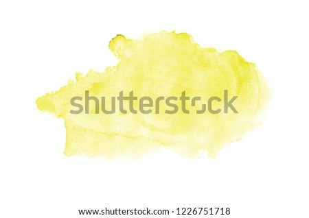 Abstract watercolor background image with a liquid splatter of aquarelle paint, isolated on white. Yellow tones #1226751718