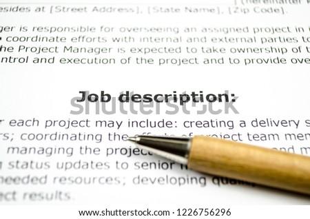 Job description with wooden pen #1226756296