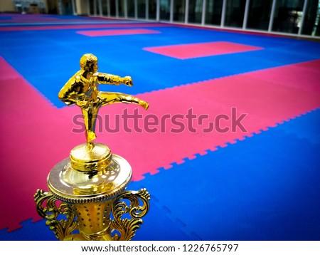 Top of karate trophy with karate tatami competition. Golden trophy karate action  in karate competition field. #1226765797