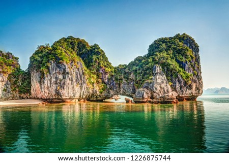 Vietnam Halong Bay beautiful sunset landscape background #1226875744