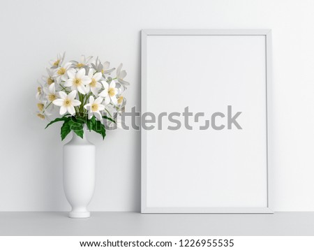 Blank photo frame for mockup and flower on floor, 3D rendering #1226955535