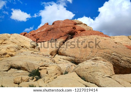 Mountain with different rocks on a background of blue sky in a park in Arizona. #1227019414