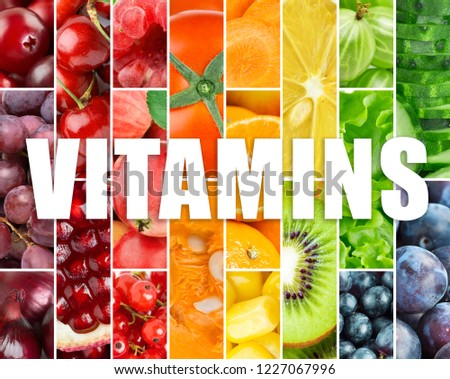 Background of fresh fruits and vegetables. Vitamins #1227067996