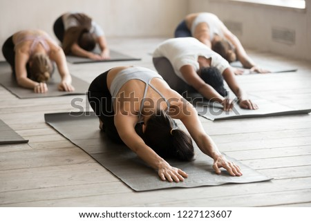 Group of sporty people practicing yoga lesson, doing Child exercise, Balasana pose, working out, indoor full length, mixed race female students training at club or studio. Well being, fitness concept #1227123607