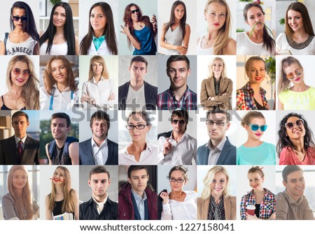 Collection of different many happy smiling young people faces caucasian women and men. Concept business, avatar. #1227158041