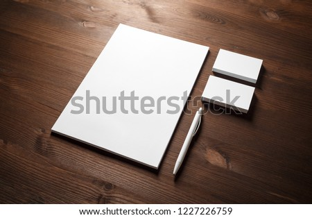 Blank corporate identity. Stationery template. Branding mockup. Letterhead, business cards and pen Royalty-Free Stock Photo #1227226759