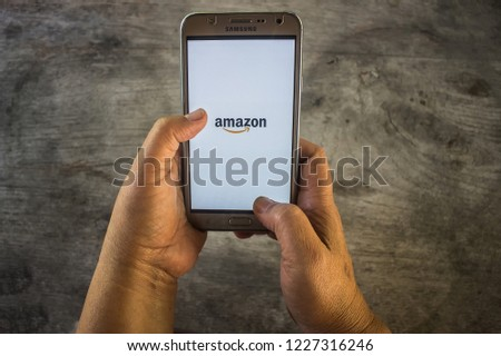 CHIANG MAI, THAILAND - NOV 12, 2018: Screen shot Amazon application using samsung. Amazon is an American international electronic commerce company. #1227316246