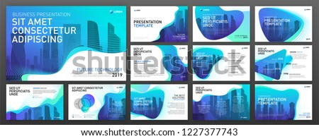 Powerpoint presentation templates set. Use for keynote presentation background, brochure design, website slider, landing page, annual report, company profile. Royalty-Free Stock Photo #1227377743