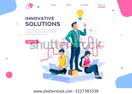Wonder creative answer, cartoon exclamation, communication. Search for confused idea or problem doubt solution. Clever think. Project for application alert concept with character isometric flat vector Royalty-Free Stock Photo #1227383338