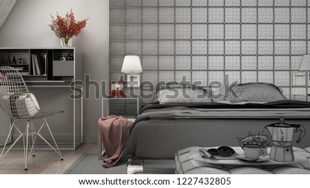 Unfinished project draft sketch of contemporary gray bedroom in luxury attic, bed and carpet, classic interior design, 3d illustration #1227432805