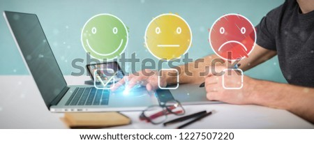 Graphic designer on blurred background using thin line customer satisfaction rating #1227507220