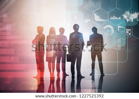 Silhouettes of diverse business team members over immersive interface with business infographics. Toned image double exposure #1227521392